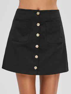 Button Fly Pocket Mini Skirt - Black S