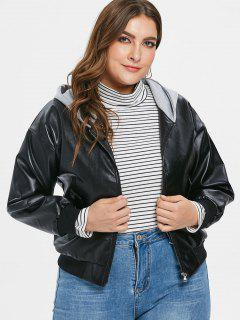 Hooded PU Leather Plus Size Jacket - Black 4x