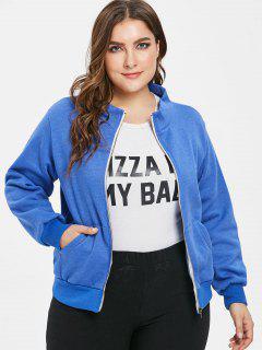 Pockets Zip Up Plus Size Jacket - Blue 4x