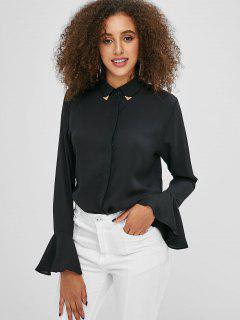 Flare Sleeves Button Up Shirt - Black S