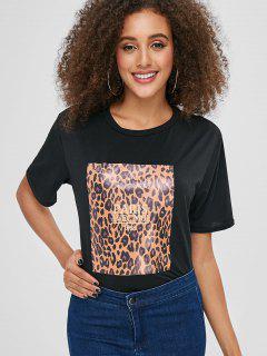 Camiseta Con Estampado De Leopardo De Cuello Redondo - Negro Xl