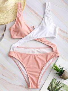 ZAFUL Two Tone Lace-up Crisscross Monokini - Pink S