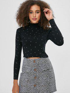 Mock Neck Rivet Cropped Sweater - Black L