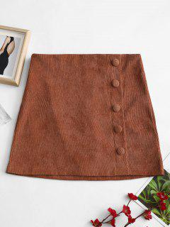 ZAFUL Buttoned A Line Corduroy Skirt - Brown M