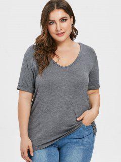 Camiseta Con Mangas Con Cuello En V Y Talla Grande - Gris 2x
