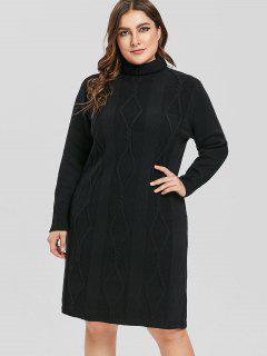 Vestido De Suéter De Cuello Alto Ajustado Tamaño - Negro 1x