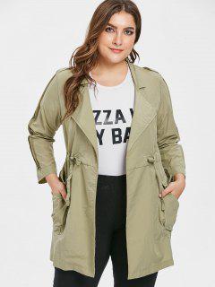 Tunic Plus Size Drawstring Waist Coat - Khaki 3x