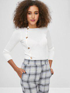 Buttons Slim Sweater - White