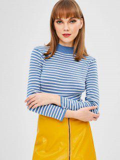 Striped Mock Neck Sweater - Blue