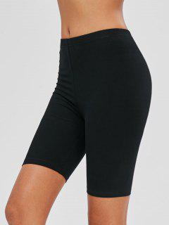 Mid Waist Plain Biker Shorts - Black M