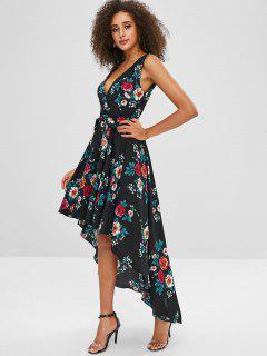 Floral Print Belted High Low Dress - Multi-a L