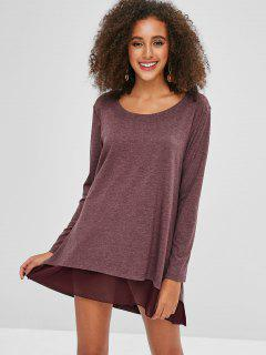 High Low Overlay Tunic Tee Dress - Firebrick S
