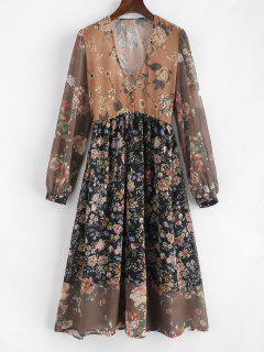 Vestido De Cuello Redondo Con Estampado Floral De V - Multicolor L
