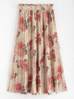 Floral Print Pleated Maxi Skirt - Multi L