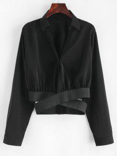 Criss Cross Plain Buttoned Button - Noir L
