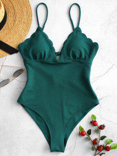Bañador De Una Pieza Festoneado Con Textura Festoneada - Azul Verdoso S
