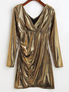 Metallic Plunging Mini Dress - Champagne Gold