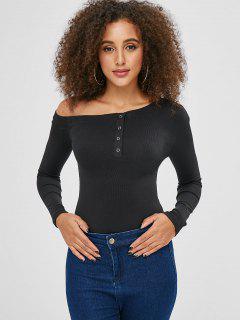 Skew Cuello Mangas Largas Llano Camiseta - Negro M