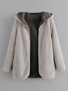 Hooded Open Front Lamb Wool Teddy Coat - Gray Cloud S