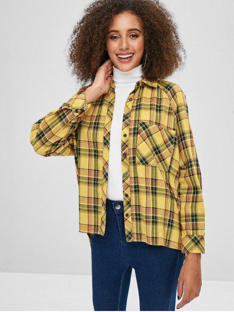ZAFUL bolsillo delantero túnica a cuadros camisa - Amarilla de Abeja  S Mobile
