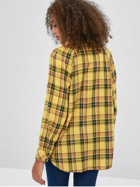 women ZAFUL Front Pocket Plaid Tunic Shirt - BEE YELLOW S Mobile