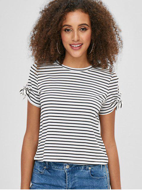 fashion ZAFUL Tied Sleeve Striped Tee - WHITE M Mobile