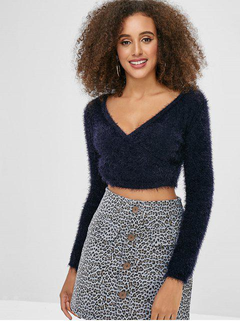 outfit Surplice V Neck Cropped Sweater - DARK SLATE BLUE ONE SIZE Mobile
