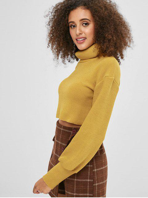 lady Tutrtleneck Plain Cropped Sweater - YELLOW M Mobile