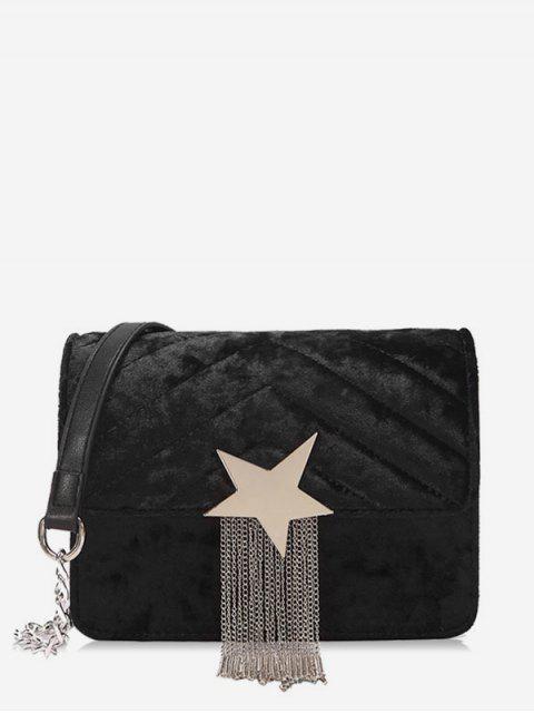 online Fringe Star Chain Crossbody Bag - BLACK  Mobile