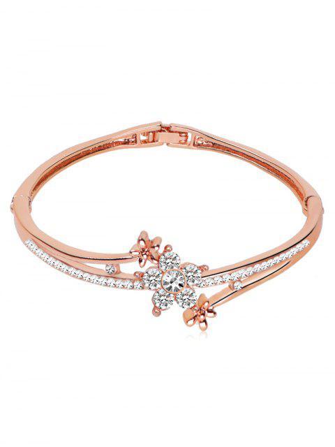 fashion Rhinestone Inlaid Floral Design Bracelet - ROSE GOLD  Mobile