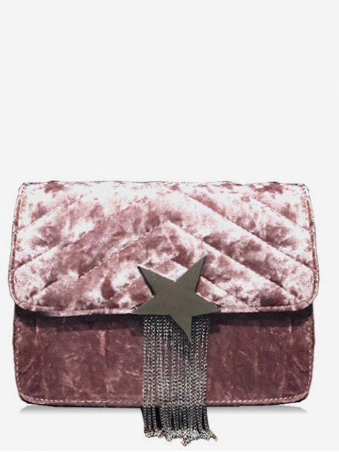 women Fringe Star Chain Crossbody Bag - LIGHT PINK  Mobile