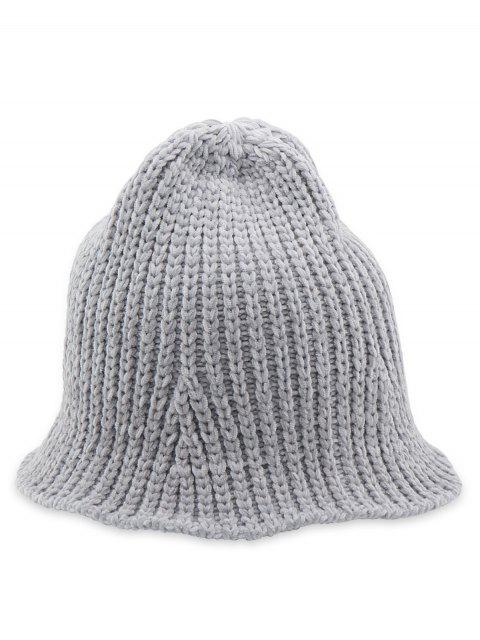 lady Crochet Knitted Foldable Bucket Hat - GRAY  Mobile