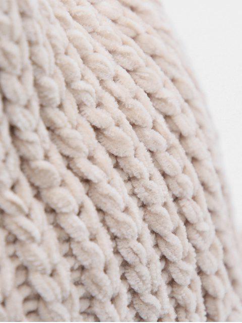 lady Crochet Knitted Foldable Bucket Hat - BEIGE  Mobile
