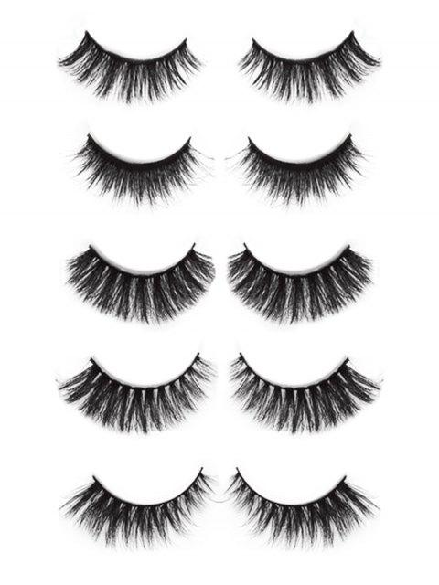 lady Cosmetic 5 Pairs 3D Mink Hair Natural False Eyelashes Set - BLACK  Mobile