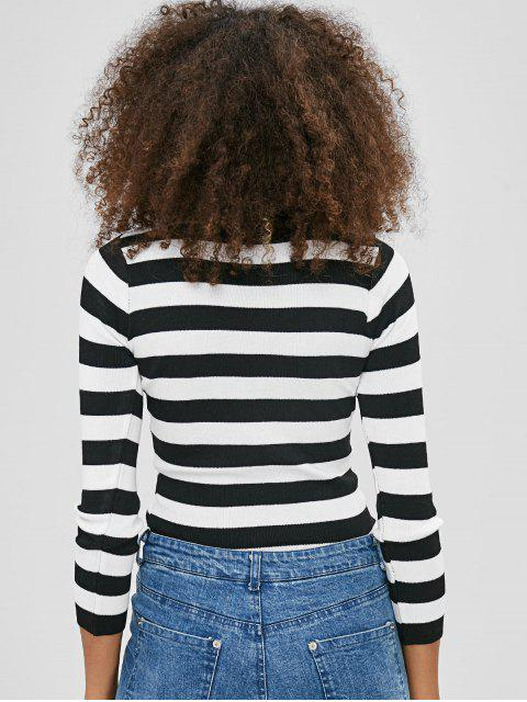 buy Keyhole Striped Sweater - BLACK ONE SIZE Mobile