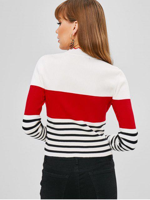 chic Color Block Stripes Ribbed Sweater - MULTI L Mobile