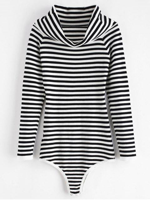 chic Knit Striped Overlay Bodysuit - MULTI ONE SIZE Mobile