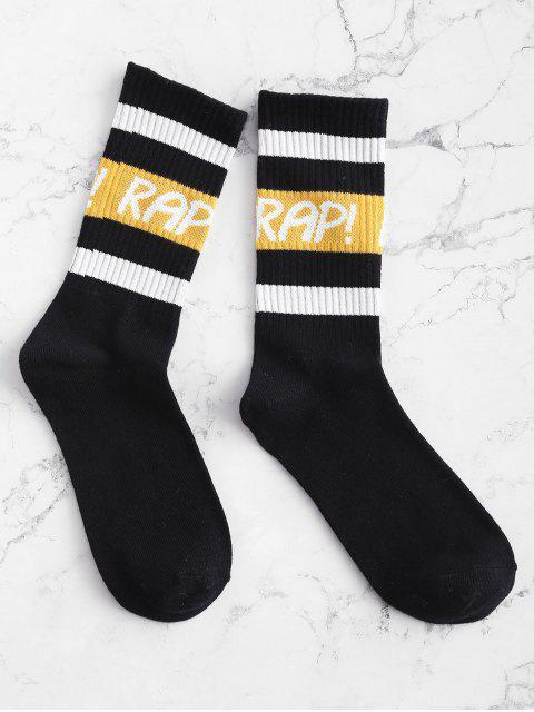 ladies Graphic Striped Gym Crew Socks - BLACK ONE SIZE Mobile