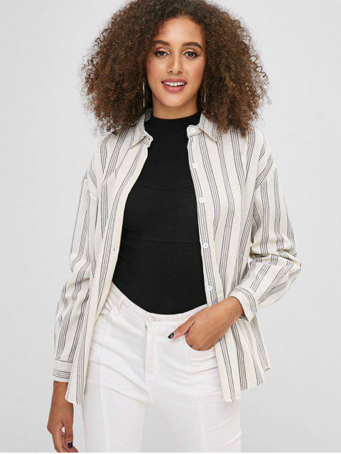 Botón hasta camisa de rayas de palangre - Multicolor-A Talla única Mobile