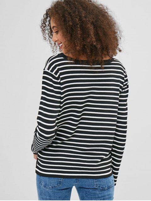 unique Casual Striped Two Tone Sweater - BLACK ONE SIZE Mobile