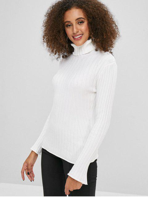 shop Turtleneck Flare Sleeve Ribbed Sweater - WHITE ONE SIZE Mobile