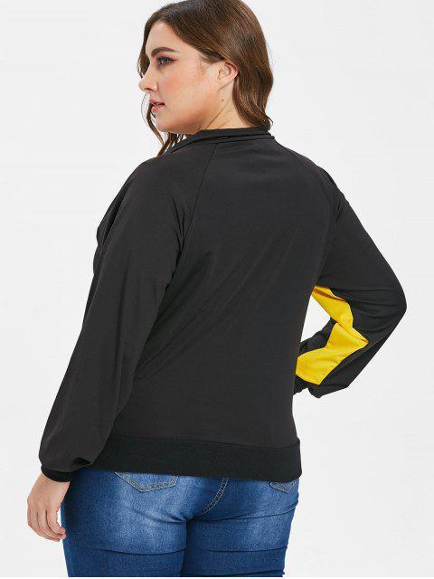 カラーブロックグラフィックプラスサイズジャケット - ブラック 3X Mobile