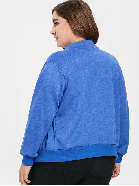 ポケットジップアッププラスサイズジャケット - 青 4X Mobile