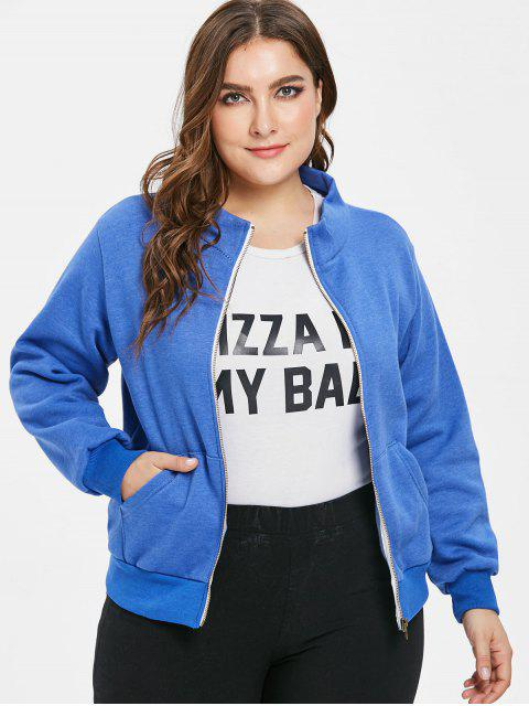 affordable Pockets Zip Up Plus Size Jacket - BLUE 3X Mobile