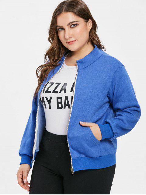 affordable Pockets Zip Up Plus Size Jacket - BLUE 3X Mobile