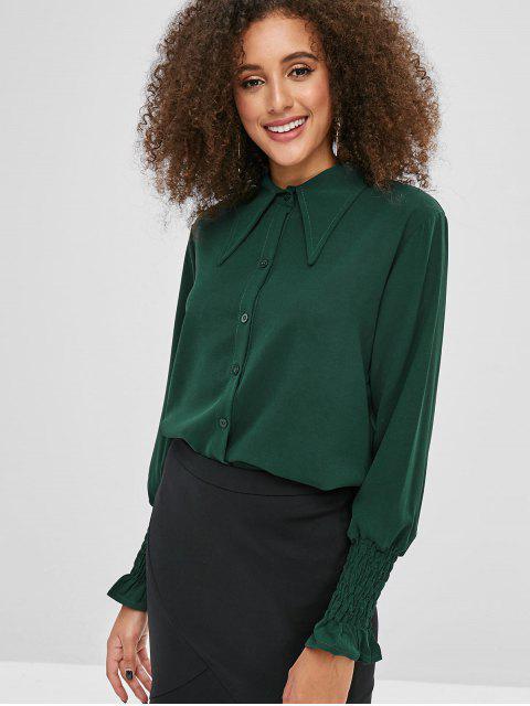 Chemise Simple Boutonné à Manchette Plissée - Vert profond M Mobile