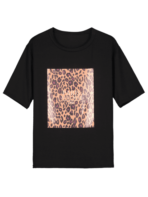 affordable Round Neck Leopard Letter Graphic Tee - BLACK XL Mobile