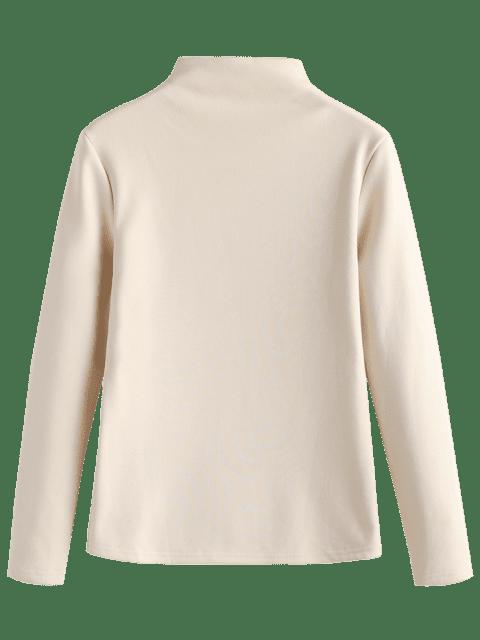 buy Mock Neck Fleece Top - APRICOT ONE SIZE Mobile