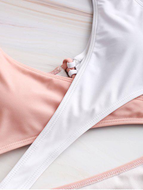 ZAFUL Monokini entrecruzado de dos tonos con cordones - Rosado S Mobile