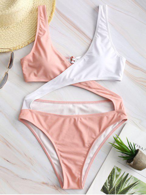 ZAFUL Monokini Croisé Bicolore à Lacets - Rose  L Mobile